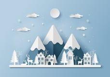 Arte di carta, stile del mestiere della renna nel villaggio illustrazione vettoriale