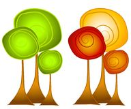 Arte di clip degli alberi di estate e di caduta Immagine Stock Libera da Diritti