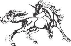 Arte di clip di disegno dell'unicorno Immagine Stock
