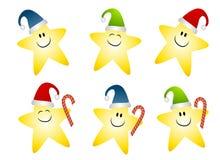Clipart sorridente delle stelle di Natale dell'oro Fotografia Stock Libera da Diritti
