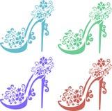 Arte di colore dello stampino delle scarpe delle donne Fotografia Stock