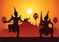 Arte di dramma di ballo tradizionale di classico tailandese mascherato Tailandese ancien royalty illustrazione gratis