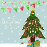 Arte di festa del nuovo anno o di Natale Illustrazione di vettore Cartoline d'auguri, manifesto o insegna Fotografia Stock Libera da Diritti