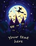Arte di Halloween con la luna, il castello e la strega di volo Immagine Stock