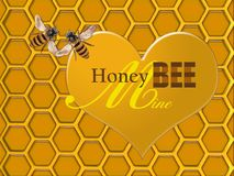 Arte di Honey Bee Mine Valentine di un favo dell'oro con cuore e le api royalty illustrazione gratis