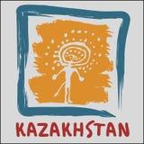 Arte di logo della Repubblica del Kazakistan Fotografie Stock