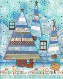 Arte di media misti della cartolina di Natale Fotografia Stock Libera da Diritti