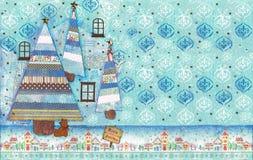 Arte di media misti della cartolina di Natale Immagini Stock Libere da Diritti