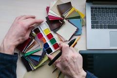 Arte di progettazione di combinazione della tavolozza dei campioni di colore Fotografia Stock