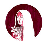 Arte di punta cremisi di sai del disegno digitale Immagine Stock Libera da Diritti