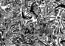 Arte di scarabocchio - illustrazione confusa dei mostri Immagini Stock Libere da Diritti