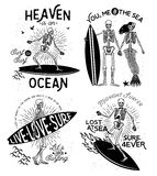 Arte di scheletro di vettore del surfista Fotografia Stock
