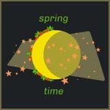 Arte di tempo della luna della primavera con i fiori intorno illustrazione vettoriale