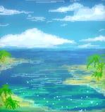 Arte di vista sul mare del mosaico Fotografia Stock