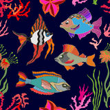 Arte di vita di mare Pesci e coralli senza cuciture del modello di vettore Fotografia Stock
