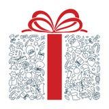 Arte dibujado mano del garabato de la forma del regalo Movimiento Editable stock de ilustración