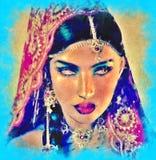Arte digital abstrata da cara da mulher indiana ou asiática, fim acima com véu colorido Um efeito da pintura de óleo e umas luzes Imagens de Stock Royalty Free
