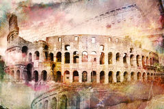 Arte digital abstrata de Colosseum, Roma Papel velho Cartão, alta resolução, imprimível na lona fotos de stock royalty free