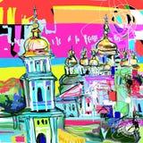 Arte digital contemporáneo original del paisaje urbano de Kiev Ucrania, tarjeta del viaje stock de ilustración