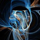 Arte digital de la mezcla del vértigo de la hélice de las nubes del fractal futurista ligero azul de las curvas ilustración del vector