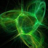 Arte digital del fractal futurista de las curvas de las nubes de la hélice del vértigo de la mezcla de la luz verde stock de ilustración