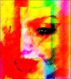 Arte digitale astratta variopinta del fronte di una donna, fine su Fotografie Stock