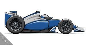 Arte divertido del ejemplo del vector del coche de carreras de la fórmula de la historieta del niño Imágenes de archivo libres de regalías