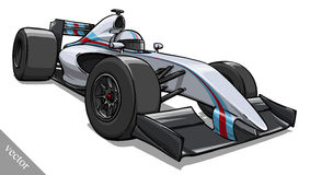 Arte divertido del ejemplo del vector del coche de carreras de la fórmula de la historieta del niño Foto de archivo