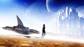 Arte do conceito da ficção científica ilustração do vetor