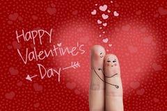 Arte do dedo de um par feliz Os amantes estão abraçando e estão beijando Imagem conservada em estoque Foto de Stock Royalty Free