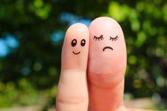 Arte do dedo dos pares o homem é fino, mulher é gordo imagens de stock royalty free