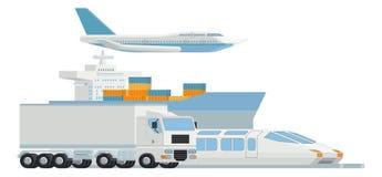 Arte do frete da carga do distribuidor da logística do transporte ilustração do vetor