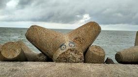 Arte do moll de Lijepaya Quebra-mar do mar Báltico Imagens de Stock Royalty Free