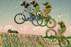 Arte do motociclista Imagem de Stock