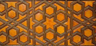 Arte do otomano com testes padrões geométricos na madeira Imagem de Stock Royalty Free