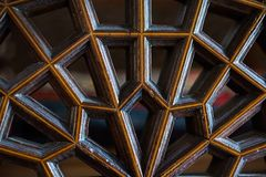 Arte do otomano com testes padrões geométricos na madeira Fotos de Stock