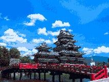 Arte do pixel do castelo de Japão Foto de Stock