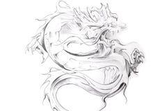 Arte do tatuagem, esboço de um dragão oriental Fotografia de Stock