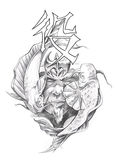 Arte do tatuagem, esboço de um guerreiro japonês Fotos de Stock