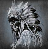 Arte do tatuagem, retrato da cabeça indiana americana Fotografia de Stock