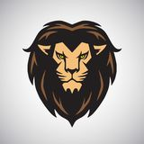 Arte do vetor de Lion Head Mascot Logo Design Imagem de Stock Royalty Free