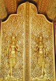 Arte dorata della finestra del tempiale tailandese Immagini Stock Libere da Diritti