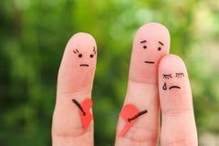 Arte dos dedos da família durante a discussão O conceito dos pais teve a luta fotografia de stock