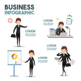 Arte dos desenhos animados do negócio-infographics Fotografia de Stock Royalty Free