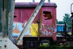 Arte dos grafittis em um trem Fotografia de Stock