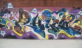 Arte dos grafittis em Williamsburg do leste em Brooklyn Imagens de Stock