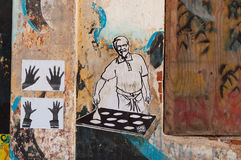 Arte dos grafittis na parede no forte Kochi Fotos de Stock