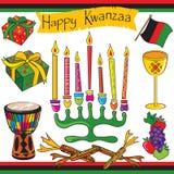 Arte e ícones felizes de grampo de Kwanzaa Fotos de Stock Royalty Free
