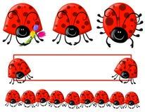 Arte e logotipo de grampo do Ladybug de Cartoonish Foto de Stock