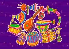 Arte e música da Índia ilustração stock